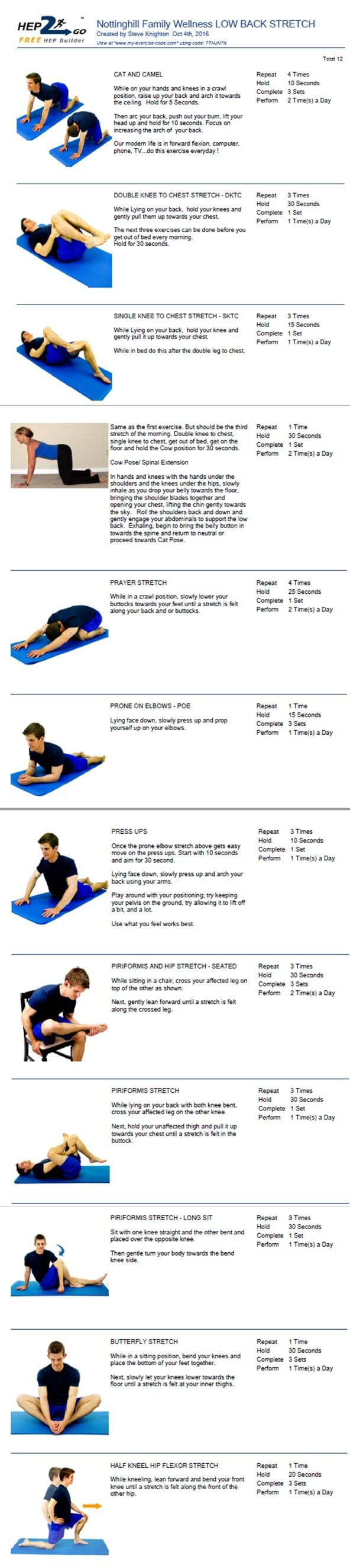 Low Back Stretches oakville chiropractor clinic
