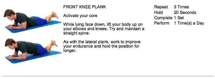 oakville chiropractor plank core exercise
