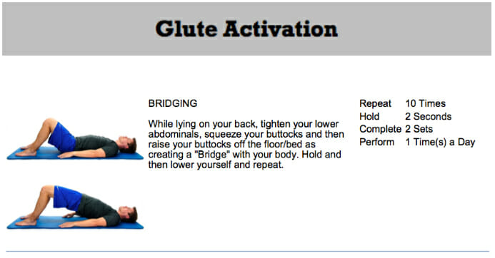 Glute activation exercersis chiropractic approved