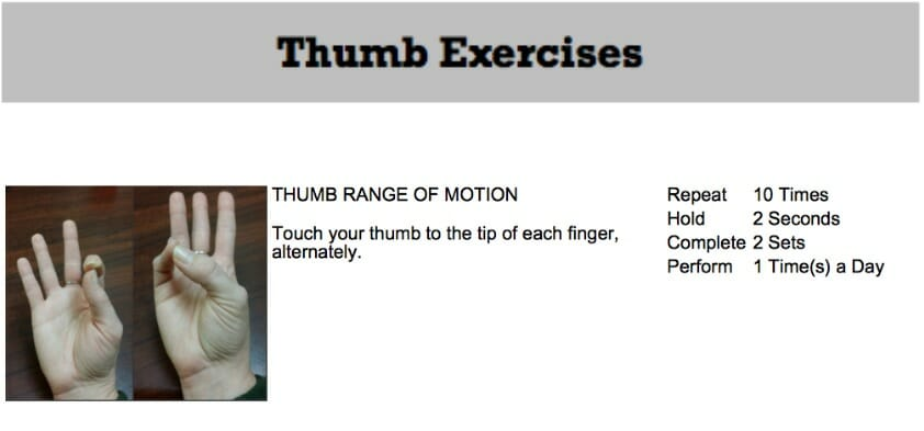 oakville chiropractor thumb pain exercise
