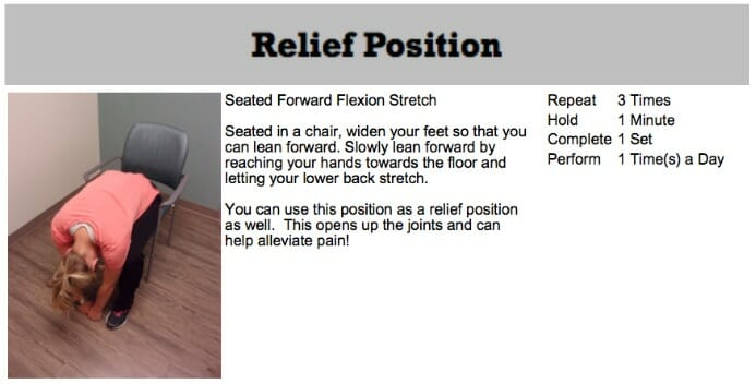 oakville chiropractor relief position spinal stenosis