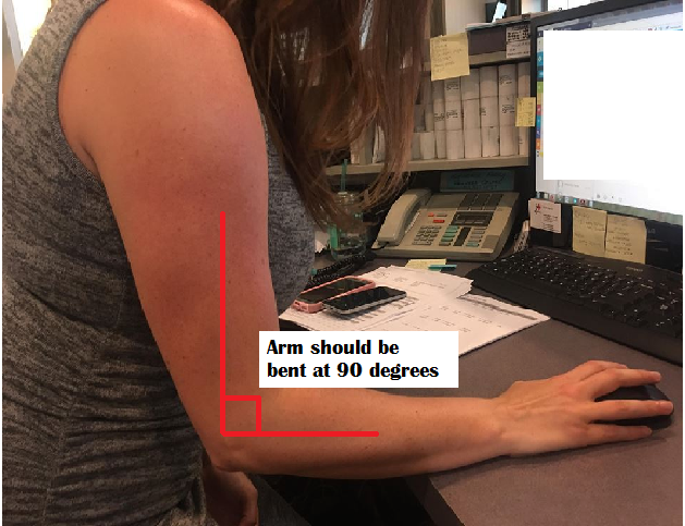 How your arms should be at your desk, from your chiropractor