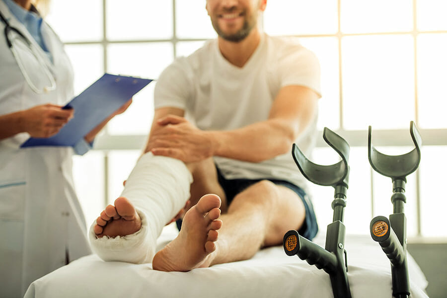 auto accident treatment with a broken ankle oakville