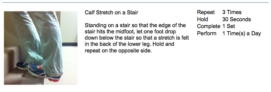 oakville chiropractor stair calf stretch