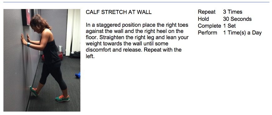 oakville chiropractor calf stretch at wall