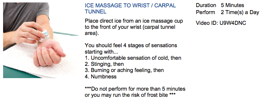 carpal tunnel ice massage treatment