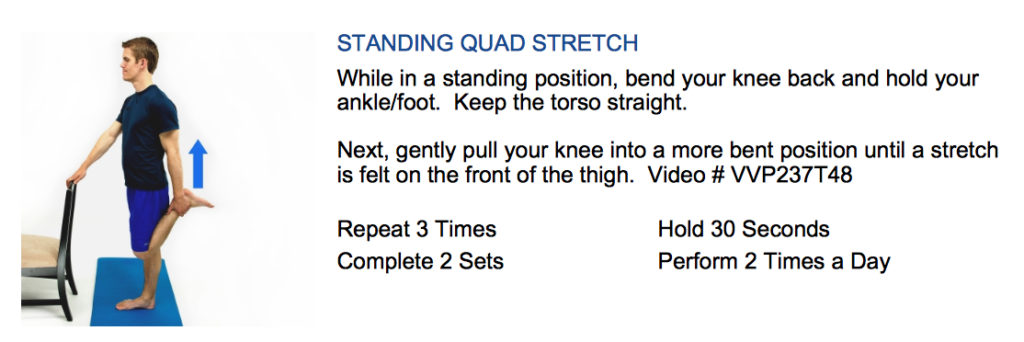 oakville chiropractor standing quad stretch